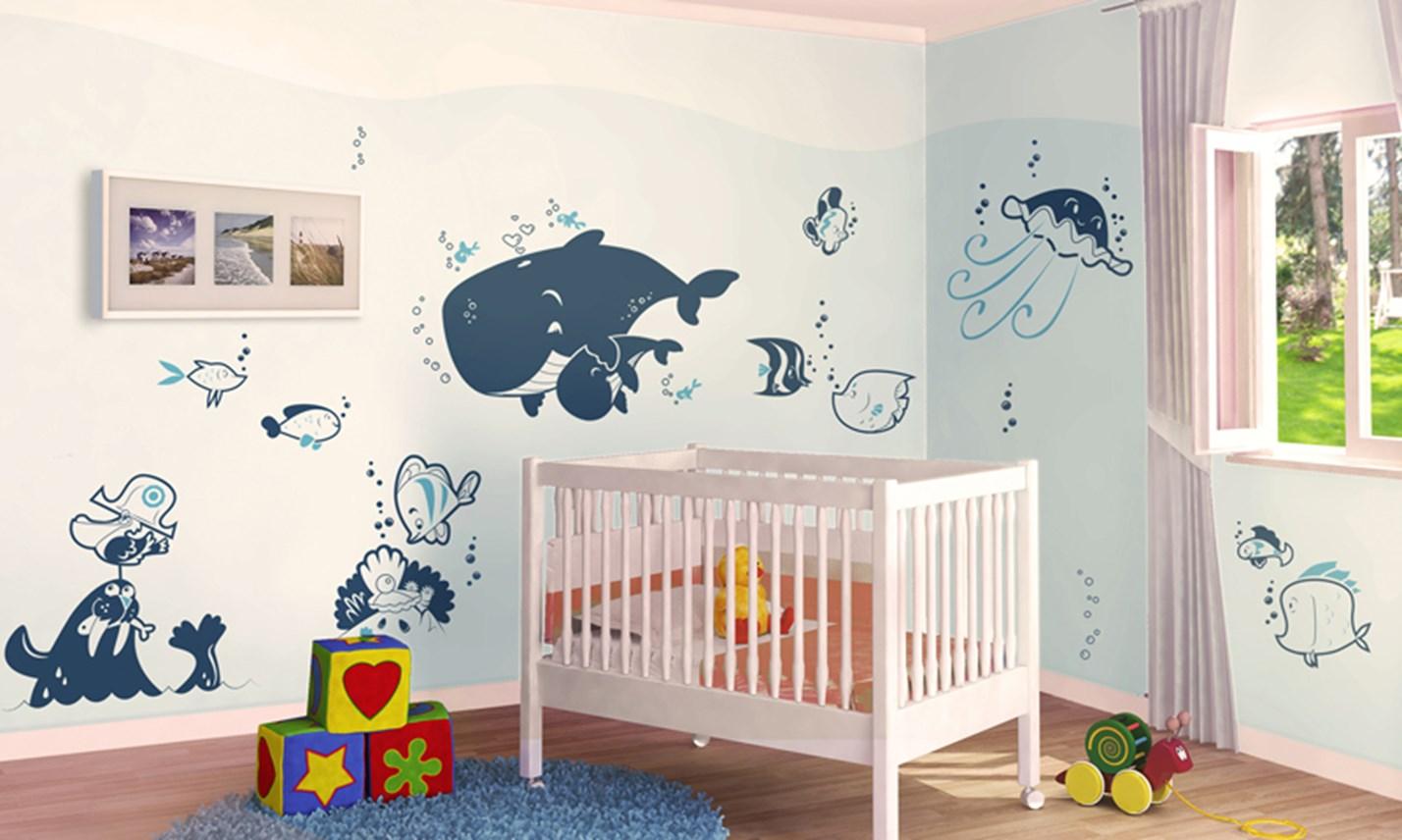 Stickers murali bambini cameretta l 39 oceano blu leostickers - Decorazioni murali camerette ...